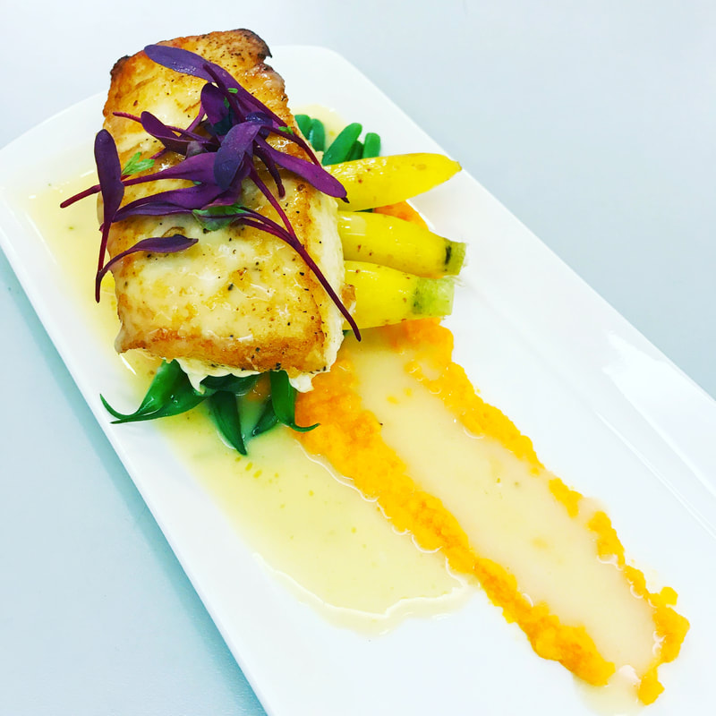 Pan Seared Halibut, Baby Carrots, Haricot Verts with a Citrus Beurre Blanc and Carrot Puree