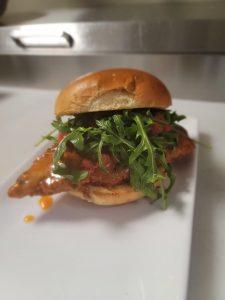 honey sriracha chicken sandwich from 50kitchen in dorchester